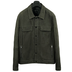 Trucker Leather Jacket - Nubuck <p> Khaki